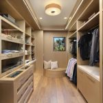 Wooden Floor Built In Bench Open Shelves Storage System Glass Front Cabinet Jewelry Holder His Cabinet Ceiling Lamp