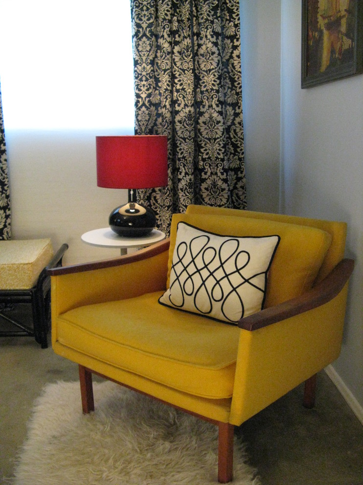 yellow mid century modern armchair white throw pillow with simple line motifs tray top side table in white white shag mat