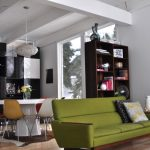 Moss Green Midcentury Modern Sofa With Wooden Feet And Woode Armrest