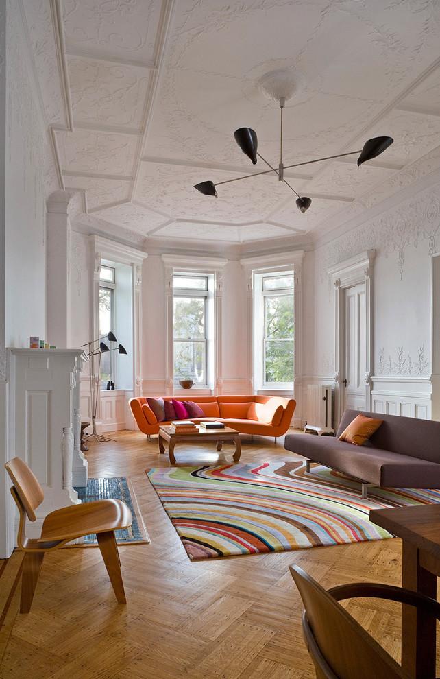 earthy orange midcentury love sofa