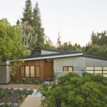 Mid Century Homes With Grey Wall And Brown Wooden Outer And Glass Window And Door For The Front Room, Slanted Roof
