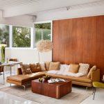 Orange Leathered Corner Sofa With Metal Feet