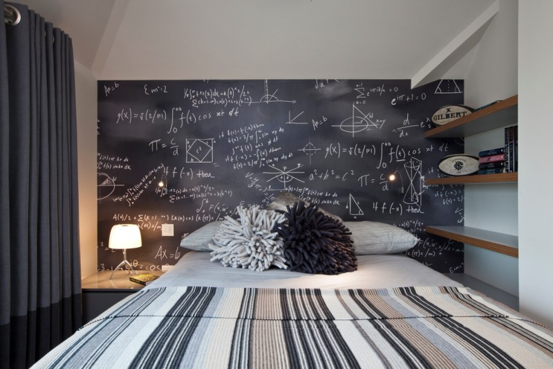 Contemporary bedroom idea multicolored walls chalkboard wall table lamps black curtain black granite floors wooden floating cabinet