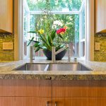 Kitchen Bay Window Bay Window Granite Countertop Sink Faucet Orchid Green Tiles Green Backsplash Cabinet Orchid Pot