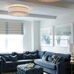 Blue Sofa Lighting Custom Sofa Blue Tufted Ottoman Catacaos Fixtures By Boyd Lighting White Tray White Wall Window Shades Blue Flower Patterned Rug