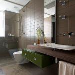 Brown Bathroom Brown Limestone Floor And Wall Tiles Dark Wood Countertop Floating Vanity Glass Shower Green Drawers Handheld Shower Head Large Bathroom Mirror