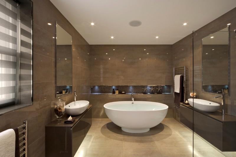 brown bathroom recessed lighting glazed dimensions olive porcelain tile polished edge mirror white stand alone resin bathtub white porcelain vessel sink cream beige floor tile