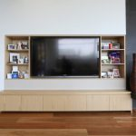 Built In Tv Cabinet Blue Bar Stool Built In Shelving Entertainment Unit Floating Desk Home Office Light Wood Cabinets Low Storage Wood Flooring White Wall