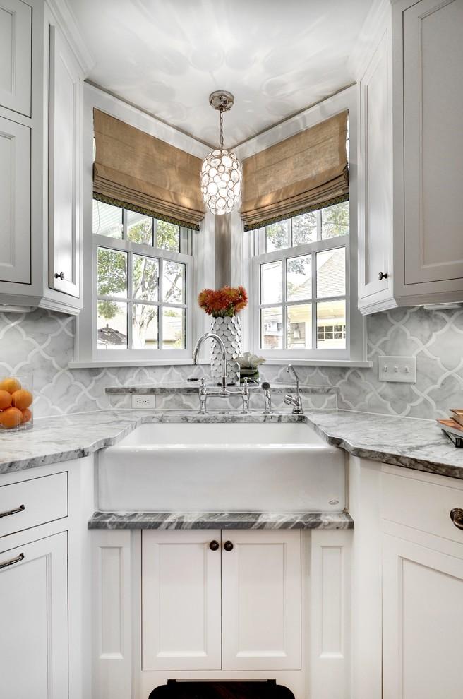 corner sink 1 light standard bulb large pendant kohler deck mount kitchen faucet small cabinet window shelf window shades marble countertop mosaic backsplash