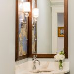Corner Sink Glass Vase Round Ceramic Corner Sink Large Mirror With Wood Frame Hudon Valley Lighting Small Sconce Powder Room Cream Marble Wood Sink