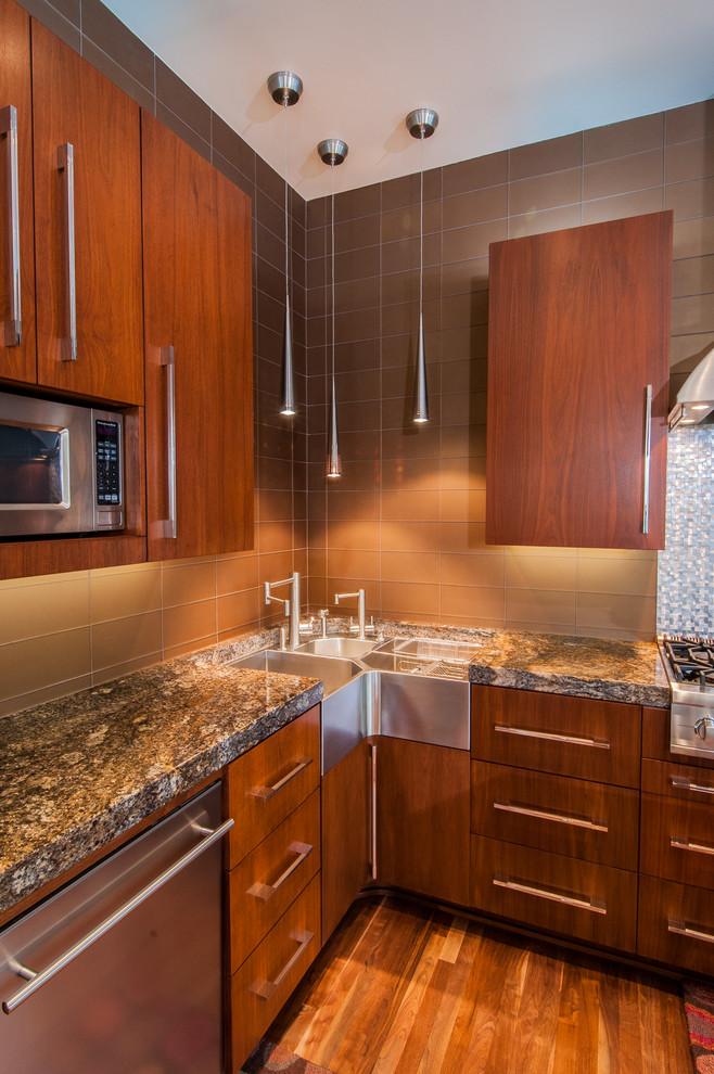 corner sink microwave brown mozaic tiles wooden floor wooden kitchen cabinet minimalist pendants unique countertop unique shape sink space saver sink