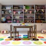 Kids Art Table Built In Shelves Multicolour Button Rug Kids Storage Kids Table From Ikea Light Wood Floors Toy Storage Colourful Pouf