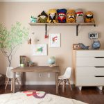 Kids Art Table Kid Size Eames Chair Open Shelf Toy Box Tree Wall Mural Wood And White Dresser Dools Area Rug Wood Flooring Curtain