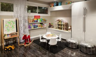 kids art table metallic leather pouf rosenberry rooms table and chairs laminate wood flooring black area rug white caninet glass windows blackboard