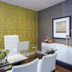 Office Wallpaper Accent Wall White Office Chairs Buffet White Credenza Damask Wallpaper Glass Desk Gray Wall Large Candleholders White Console