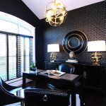 Office Wallpaper Lucy Pendant By Robert Abbey Lucy Table Lamps Leather Desk Chair Nailhead Trim Sideboard Sloped Ceiling Vaulted Ceiling Dark Wallpaper Black Desk
