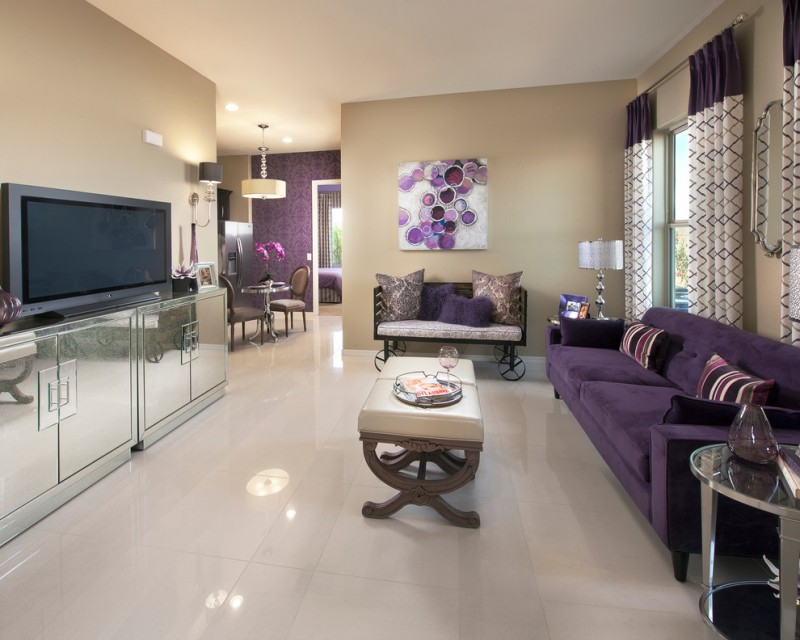 purple sofa accent table bench curtains khaki wall mirrored media cabinet polished floor tile floor tv wall art window purple and white curtains