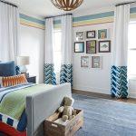 Art Deco Bedroom Blue Rug Curtains Eclectic Framed Art Framed Wall Art Gray Bed Half Patterned Drapes Wood Floor Chandelier