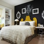 Black Accent Wall Bed And Headboards White Built In Shelves Carpet Ghost Chair Window Bench Window Shade Desk Table Lamps