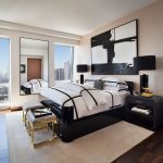 Black And White Bedding Abstract Art Bedroom Bench Black Side Tables Black Table Lamps City View Gold Accent Cream Area Rug