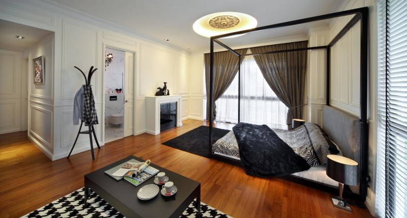 black and white bedding black and white rug black bed black coffee table black throw canopy bed coat tree gray headboard
