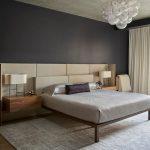 Black Bedroom Black Wall Cream Headboard And Curtains Simple Wooden Bed Grey Bedding Grey Area Rug Built In Nightstands