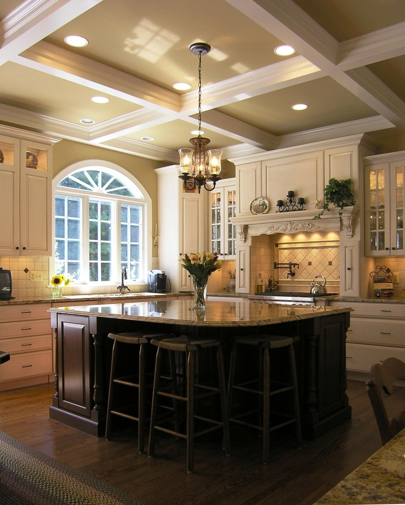 ceiling styles beige kitchen cabinets chandelier recessed lighting custom stained hardwood floor barstools kitchen island window