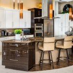 Curved Kitchen Island Beige Bar Stools Brown Backsplash Brown Backsplash Electric Stove Top Flat Panel Cabinets