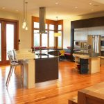 Curved Kitchen Island Emesco Hudon Barstools Ant Chairs Wood Floor Frosted Glass Walls And Doors Recessed Lighting Granite Countertop