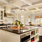 Double Island Kitchen Clemson Classic Pendants Brick Calcutta Marble Tile Cambrian Black Granite With Antique Finish Oak Flooring
