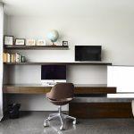 Floating Desk Floating Shelves Wooden Desk Brown Chair Sheer Curtain Concrete Floor