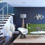 Floor Sofa Unique Armchair Dark Painted Wall Wood Floor White Coffee Table Floor Lamp Wall Decoration Area Rug Railing Glass Recessed Lighting