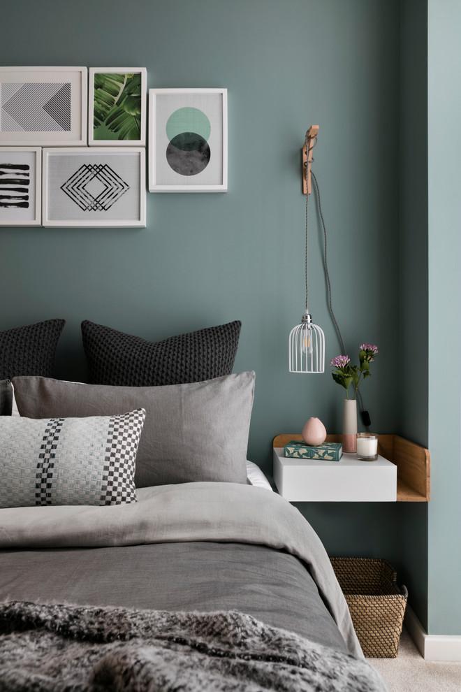 geometric wall art black pillows blue walls decorative pillows framed wall art gallery wall gray bedding gray pillows pendant lighting