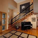 Glass Stair Railing Beautiful Flower Painting Wall Sconces White Oak Flooring Triangle Stairs Step Design Piano Indoor Plant Transparent Glass Doors