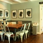 Green Dining Room Banquette Seating Black Frames Metal Dining Chairs Silhouette Small Drawers Dining Table