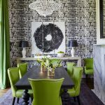 Green Dining Room Black And White Artwork And Wallpaper Green Curtains Green Studded Dining Chairs Dark Table