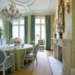 Green Dining Room Chandelier Green Table Cloth Dining Table And Chairs Green Wallpaper Windows Mirror Fireplace