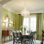 Green Dining Room Medium Hardwood Dining Table Pastel Green Walls And Drapes Chandelier Wood Console Table Mirror