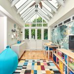 Kids Ceiling Fans Balloon Beanbag Colorful Rug Cube Storage Kids Chair And Table Murals Wooden Shelves White Cabinet Wood And Glass Window