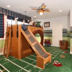 Kids Ceiling Fans Baseball Area Rug Bunk Bed With A Hole Under Wood Stairs Pendant Lights Curtain Leathered Chair Wallpaper