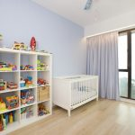 Kids Ceiling Fans White Cubies Toys Wood Flooring White Bed Painted Fan Purple Curtain Blue Wall Windows With Black Frame Basket