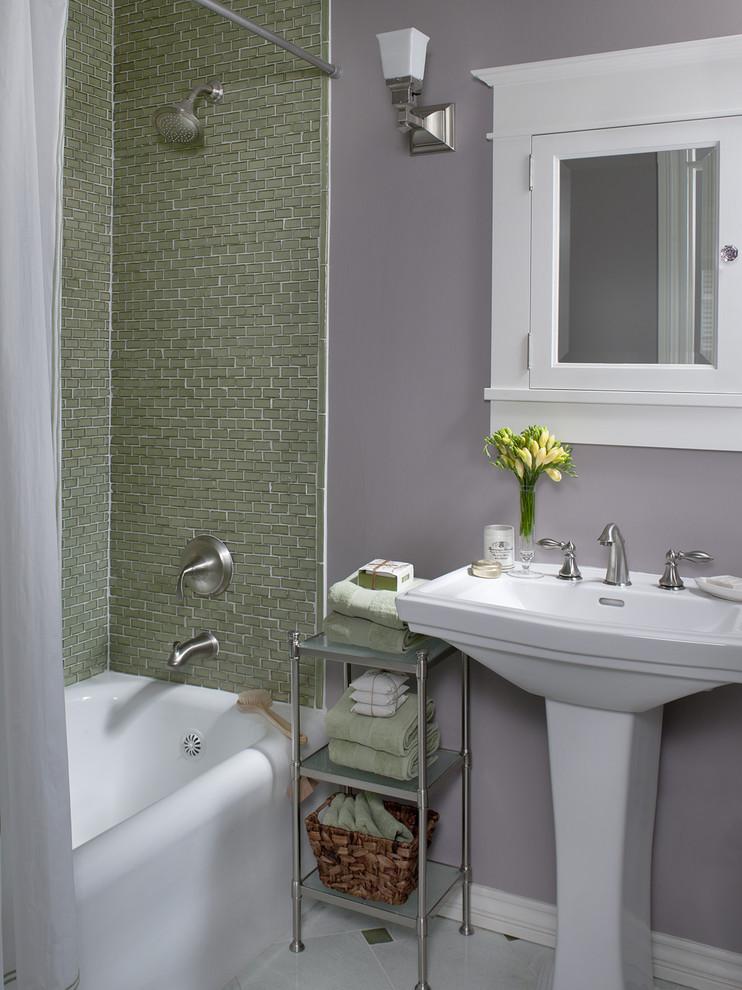 lavender bathroom bathroom storage floral arrangement green tile lavender walls medicine cabinet pedestal sink shower tub