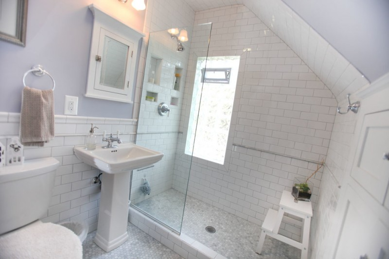 lavender bathroom carerra marble floor frameless glass shower door lavender wall window mirror sink built in shelves