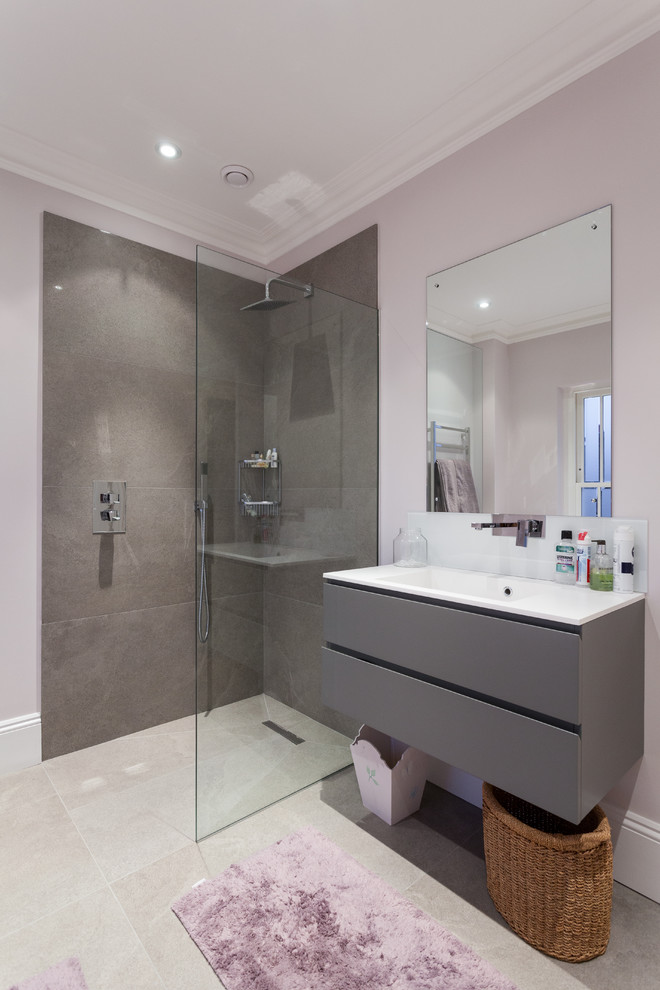lavender bathroom floating vanity lavender walls grey stone sower walls shower glass wall mirror purple mat recessed lighting