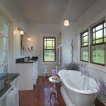 Lavender Bathroom Lavender Plants Windows Frosted Glass French Doors Mirror Double Vanity Wood Floor Bathtub Pendant