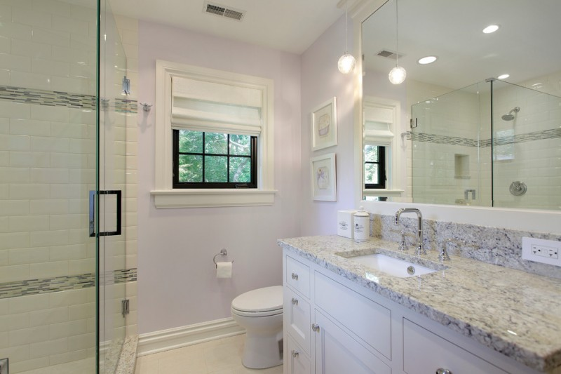 lavender bathroom lavender walls pendant lighting roman shades window shaker cabinets shower glass door white trim