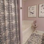 Lavender Bathroom Sketches Bath Mat Patterned Shower Curtain Vanity Lavender Wall Hook White Tub And Tile
