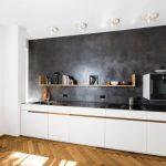 Limestone Backsplash Floating Shelf Falt Panel Cabinet White Cabinet Stainless Steel Countertop Wooden Floor