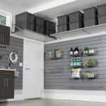 Modern Garage Cabinets Epoxy Floor Floor Coating Garage & Shed Products Tool Storage Industrial Cabinetry Overhead Storage Grey Color