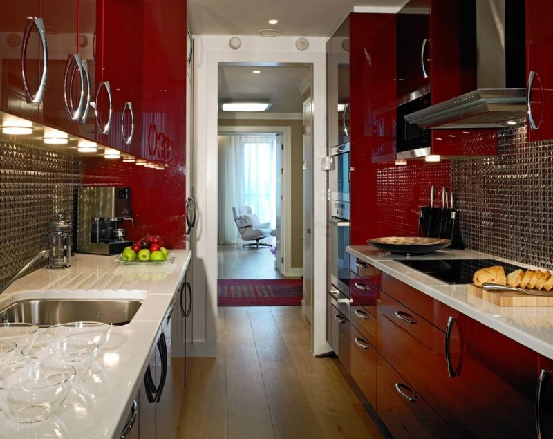 red cabinets acrylic cabinets electric cooktop kitchen hardware range hood small space tile backsplash under cabinet lighting drawers